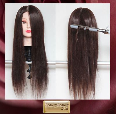 22 Brown 60 Real Human Hair Training Head Cosmetology Mannequin Uk 01