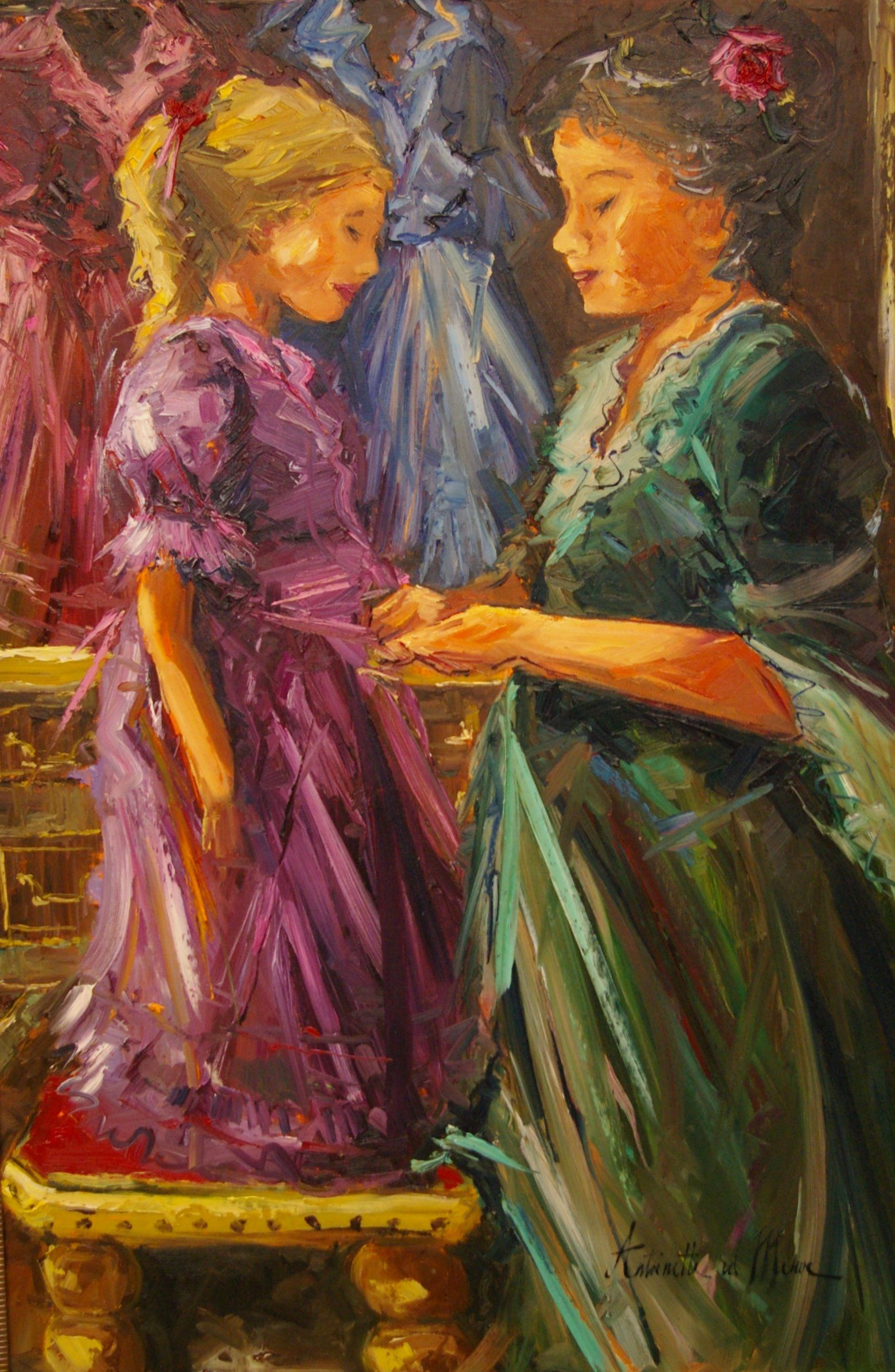 Artist: Antoinette van der Merwe  In the dress shop  Oil on canvas  Framed  Available