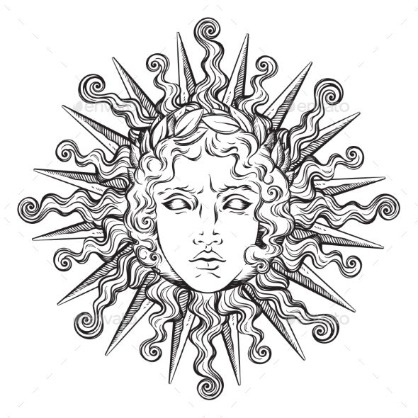 Antique Style Sun with Face of Apollo #tattoodrawings