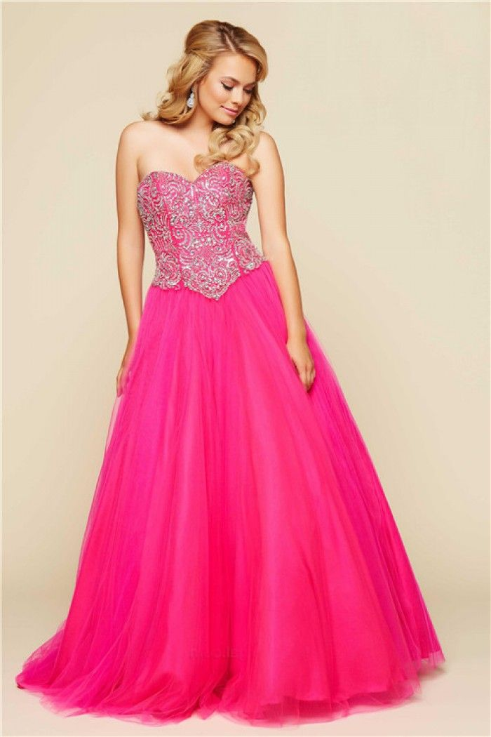 Glamour Ball Gown Strapless Corset Long Hot Pink Tulle Beaded Prom ...