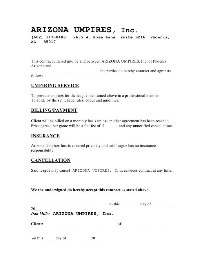 ARIZONA UMPIRES CONTRACT EXAMPLE 2009 - cleaning contract - Performance Agreement Contract