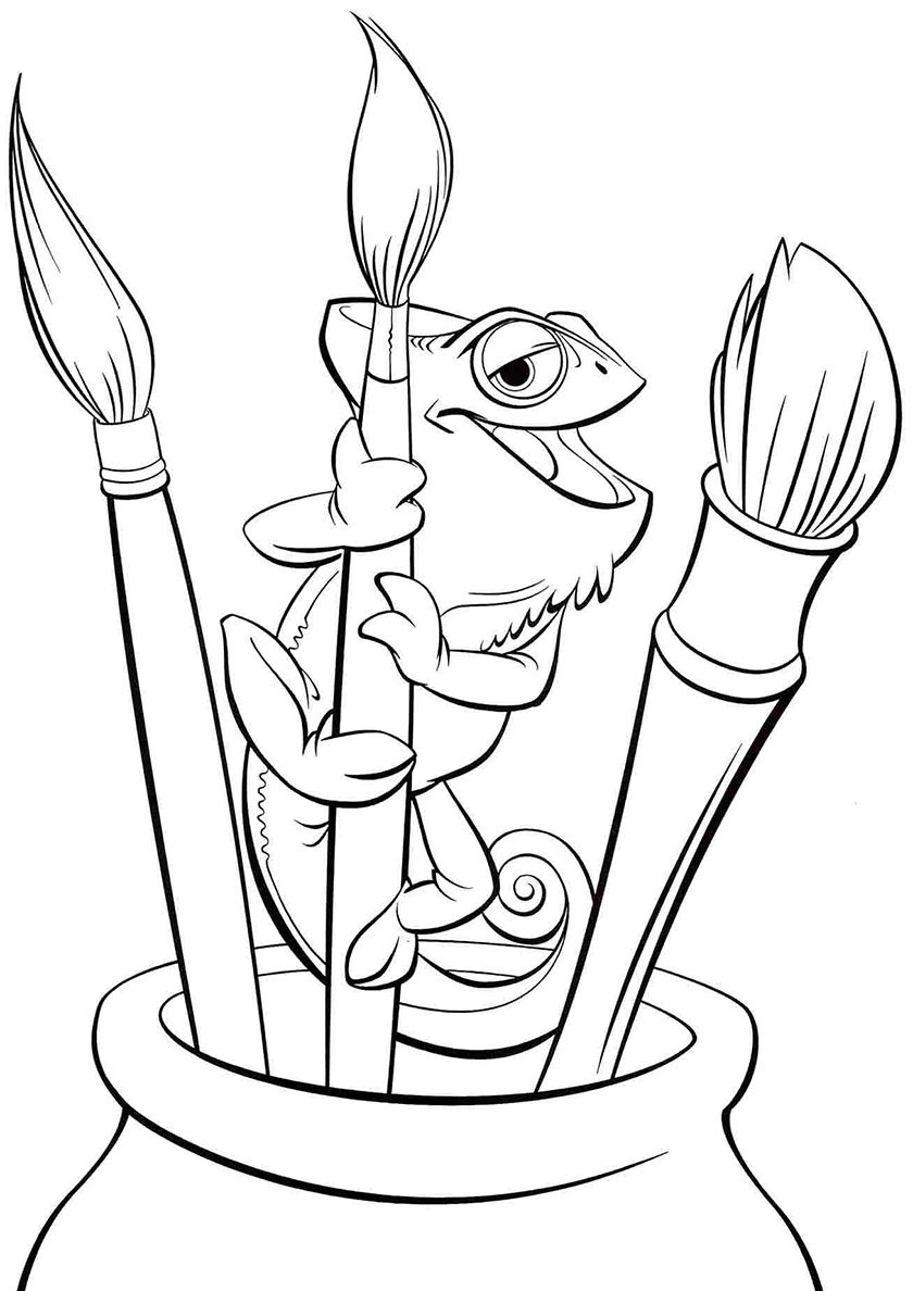 Pascal With Tassels Tangled Coloring Pages Disney Coloring