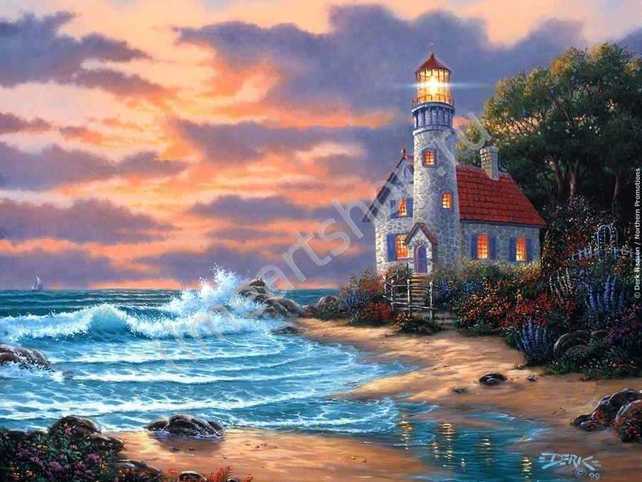 Дом с маяком, картины раскраски по номерам, размер 40*50см ...