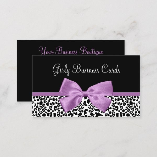 Girly Leopard Print Boutique Cute Light Purple Bow Business Card Zazzle Com Girly Business Cards Beauty Business Cards Purple Bows