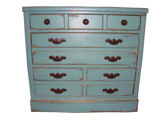 Ethan Allen Vintage Blue Distressed Small Chest With Three Drawers Chests And Dressers