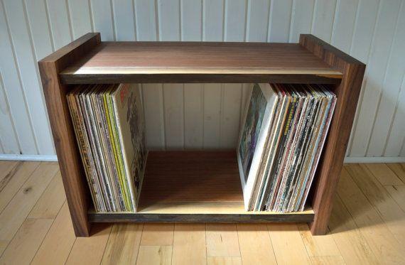 Mid-Century Modern Cabinet   Vinyl Album Storage Bookcase