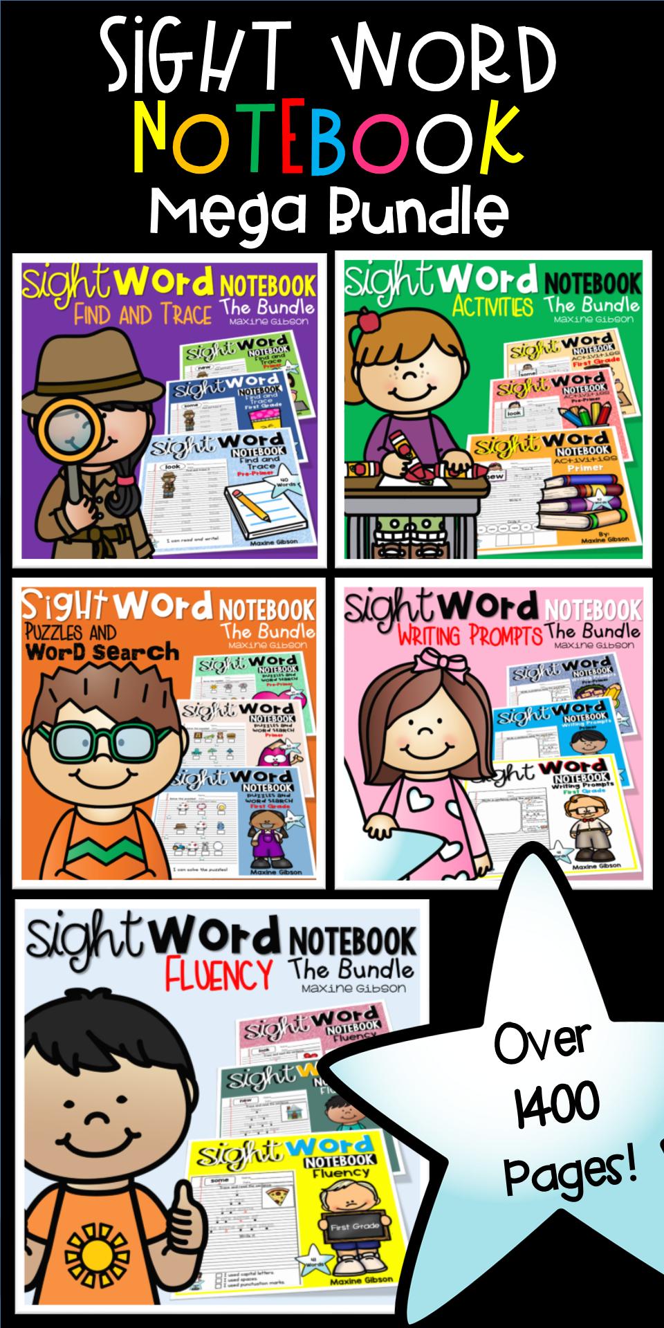 Sight word notebook mega bundle tpt blogs pinterest