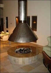 Simple Small Fireplace With Hood Outdoor Fire Pit Designs Outdoor Kitchen Design Outdoor Fire Pit