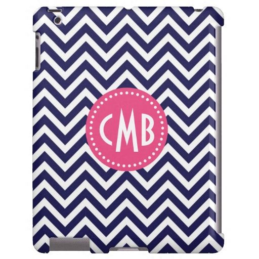 Navy Blue & Pink Modern Chevron Custom Monogram iPad Case from www.sweetzoeshop.com