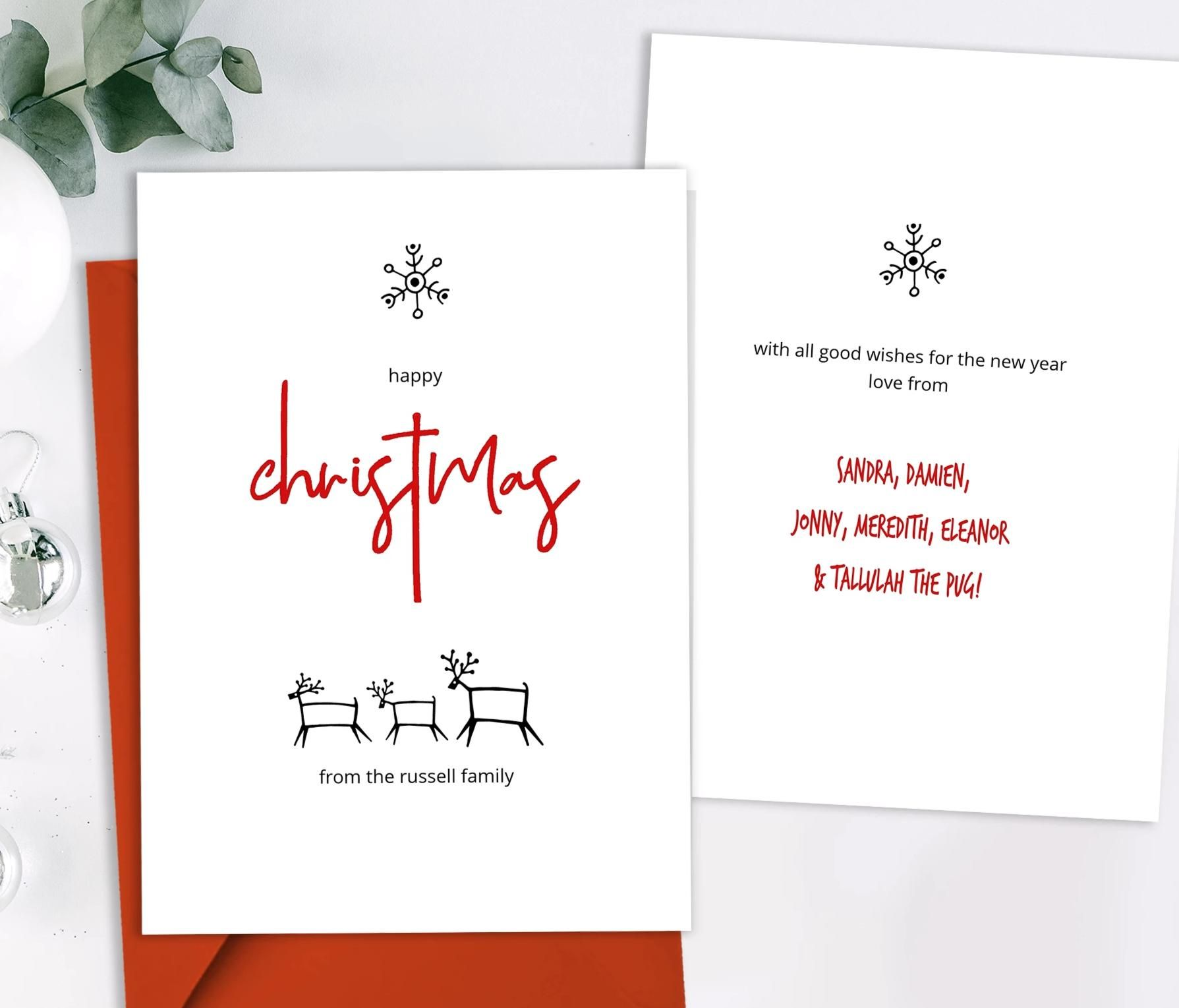 Modern Nordic Christmas Card Template Minimalist Christmas Card Hand Drawn Christmas Cards Modern Christmas Cards