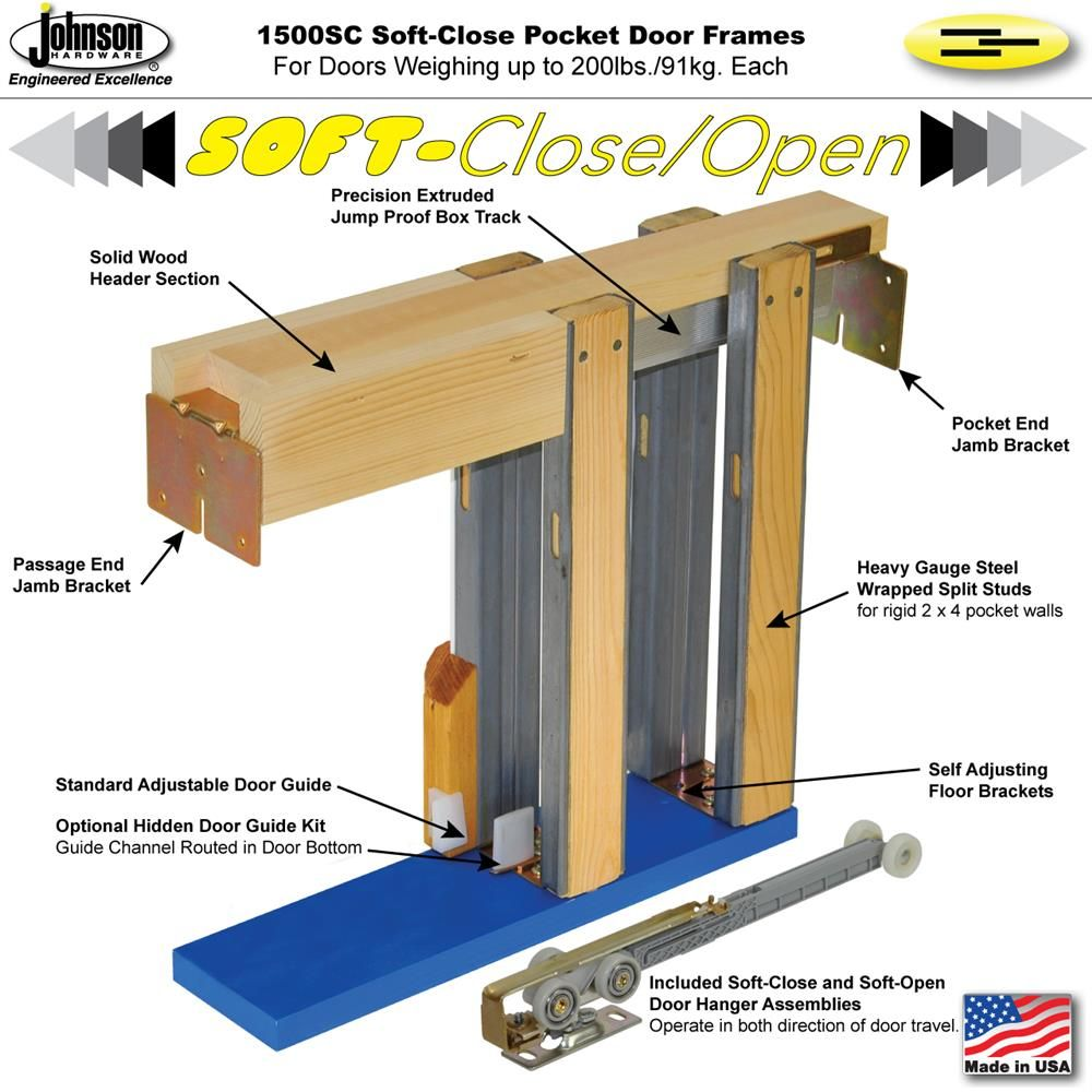 Johnson Hardware 1500sc Soft Close Pocket Door Frame Johnsonhardware Com Sliding Folding Pocket Pocket Door Installation Pocket Door Frame Pocket Doors