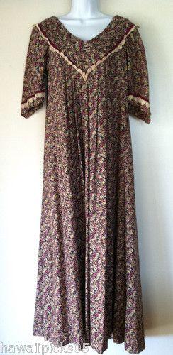 Hawaiian Muumuu Floral Calico Print Fabric V Neck Lace Velvet Long ...
