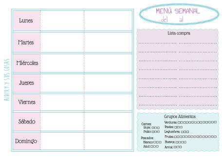 formatos para la planificacion de menus semanal - Buscar con Google