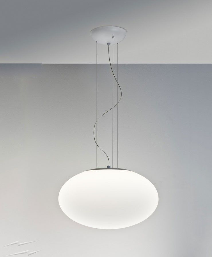 Zeppo 400 Matt White Pendant with Oval Diffuser, Hanging Ceiling ...