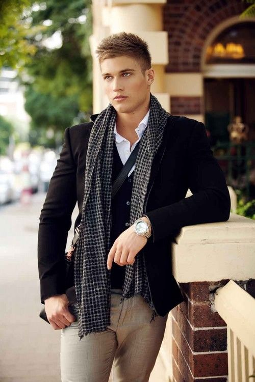 Hombre Traje Cortes De Jeans Moda Cabello Beige Negro Bufanda x60qO4