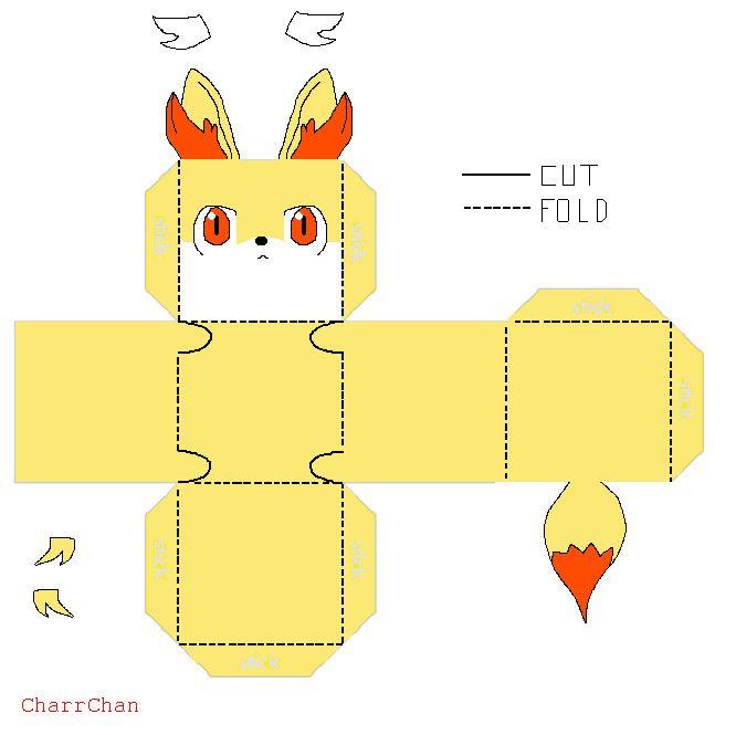 Fennekin Template Papercraft By CharrChandeviantart On DeviantArt