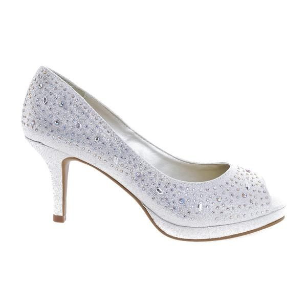 Frank Silver By City Classified, Peep Toe Glitter Rhinestone Stud ...