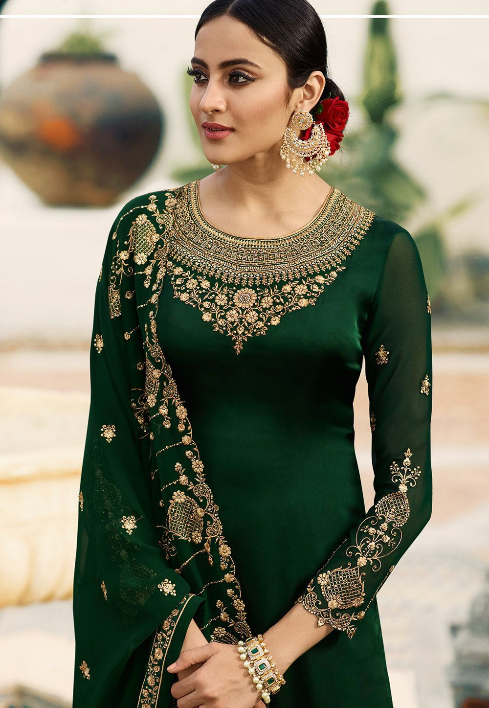 7ae8b1a8a7 dark green satin georgette embroidered sharara style pakistani suit 16206