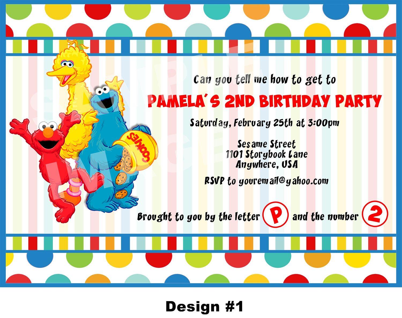 Sesame Street Invitation - Elmo Invitation - Cookie Monster ...