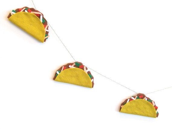 Large felt taco banner taco party banner by TastefullyMismatched