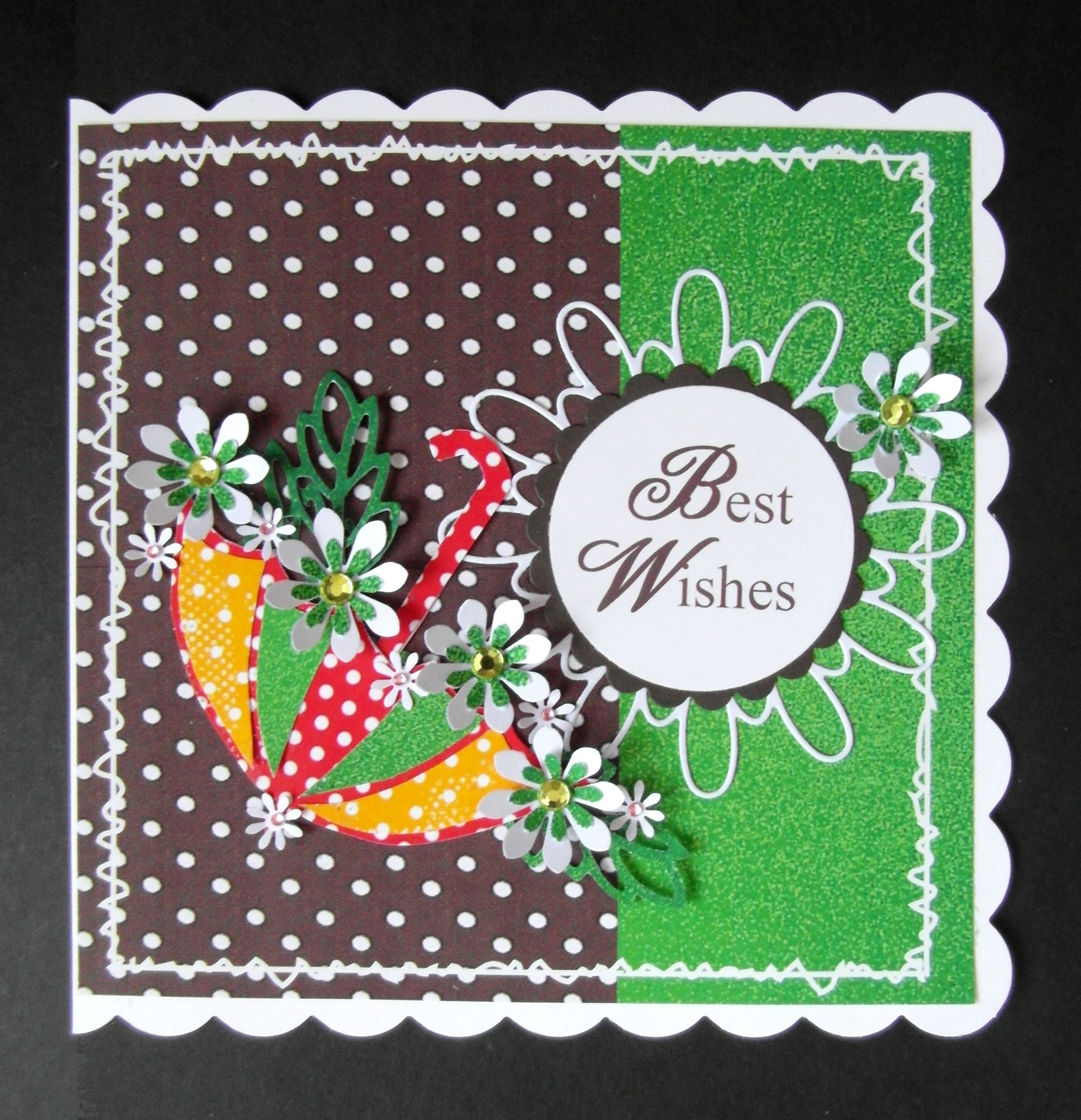 Card made using Daisy punch for flowers; Tilda and circle Dies - Umbrella hand cut from template - Original idea by agnieszka.