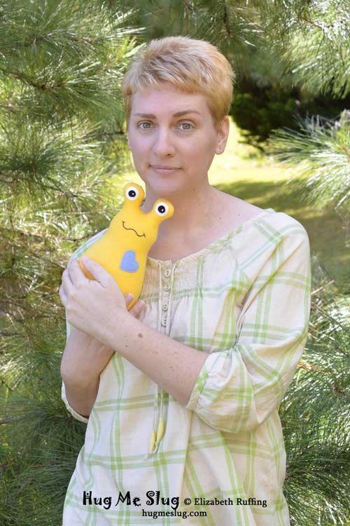 Handmade Slug, Stuffed Animal Plush Kids Art Toy, Personalized Tag, Yellow, Choose Heart Color, Fleece, 9 inch, Custom-made, Artists Exposed..., $27.00 by elizabethruffing