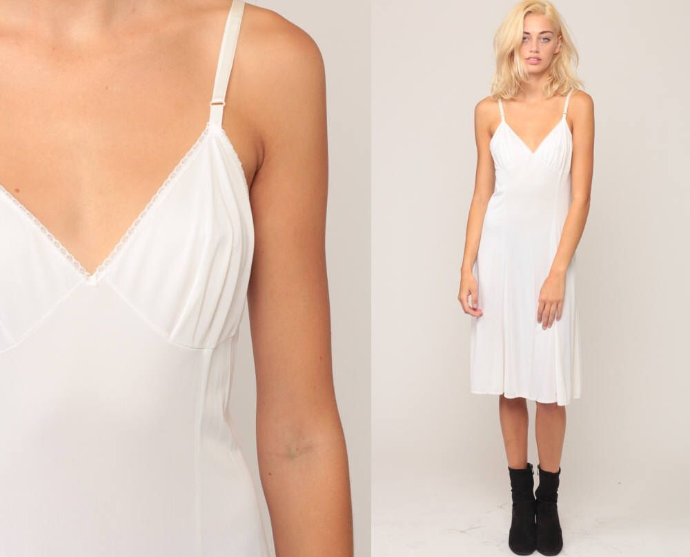 Lingerie slip dress s midi white lace sheer lingerie white vintage
