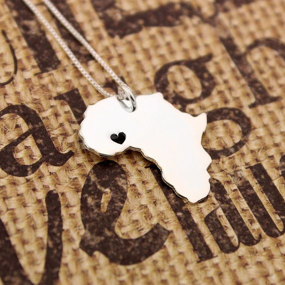Africa Necklace Sterling Silver Africa Shape Necklace With Heart