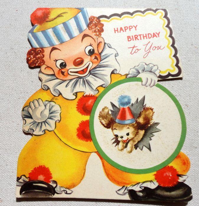 Vintage Happy Birthday Cards – Clown Birthday Cards