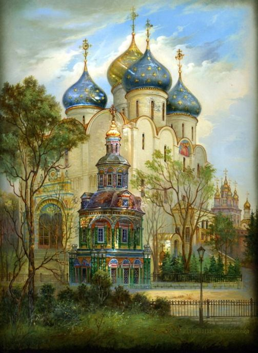 Gold domes of Russia - Fedoskino lacquer boxes. Version Two - Summer.
