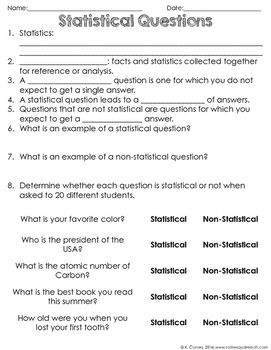 Statistical Questions Notes   Teacher pay teachers, Note and The ...