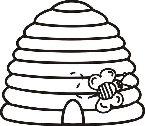 A Bee Going Outside From Beehive Coloring Page Netart Bee Coloring Pages Bee Hive Bee Pictures