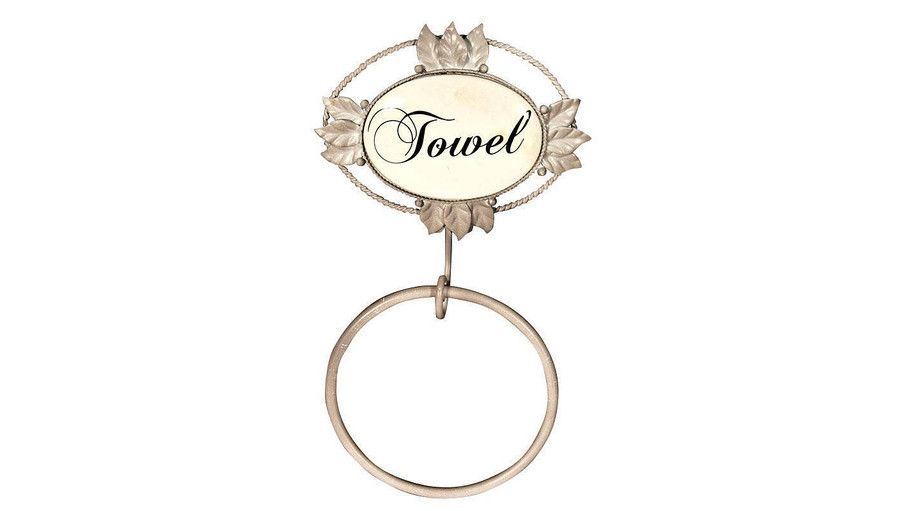 """Towel Ring - A pretty wall-mounted Towel Ring with leaf detail and with classic script that reads """"Towel"""". A slightly distressed finish completes the look."""