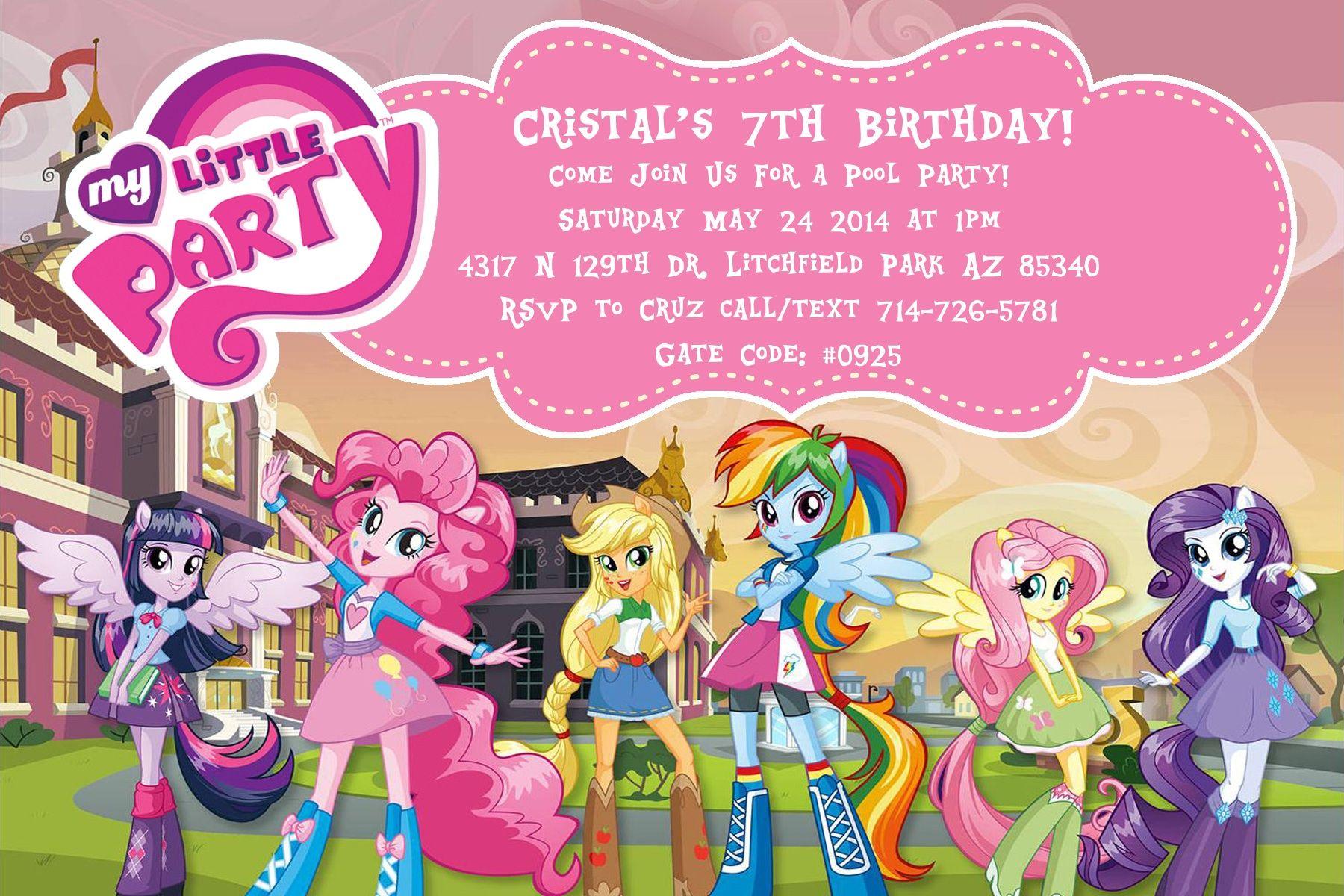 Equestria Girls Invitation | princesas | Pinterest | Tarjetas de ...