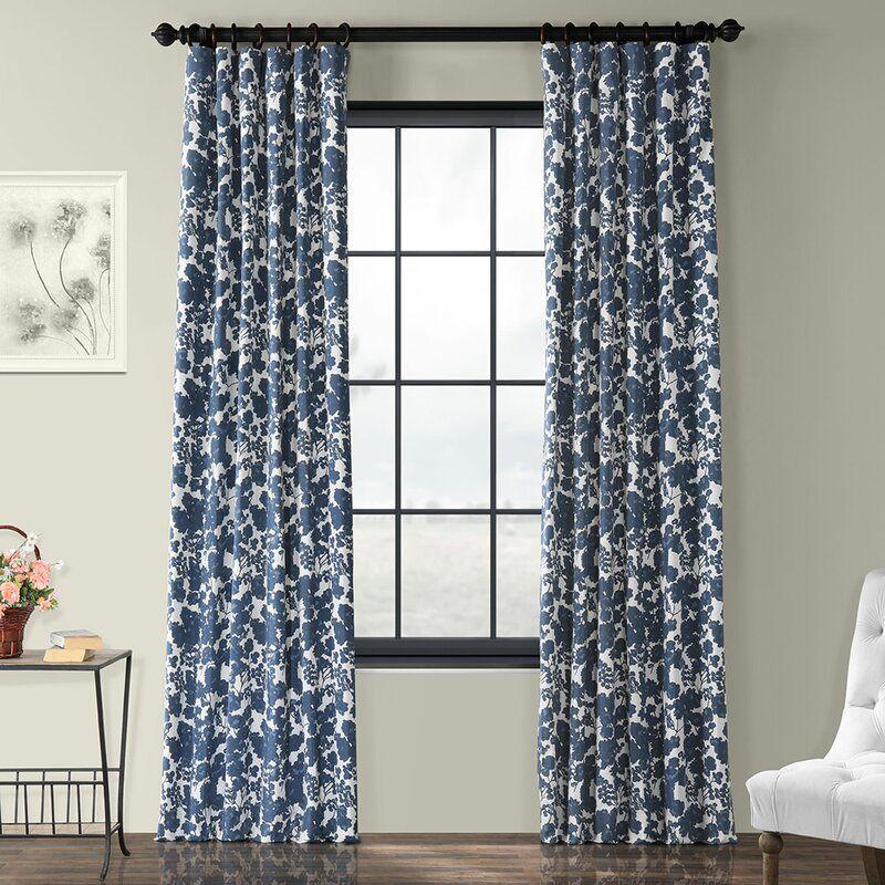 One Allium Way Olmeda Blue Printed Floral Room Darkening Thermal Rod Pocket Single Curtain Panel Reviews Panel Curtains Printed Cotton Curtain Floral Room