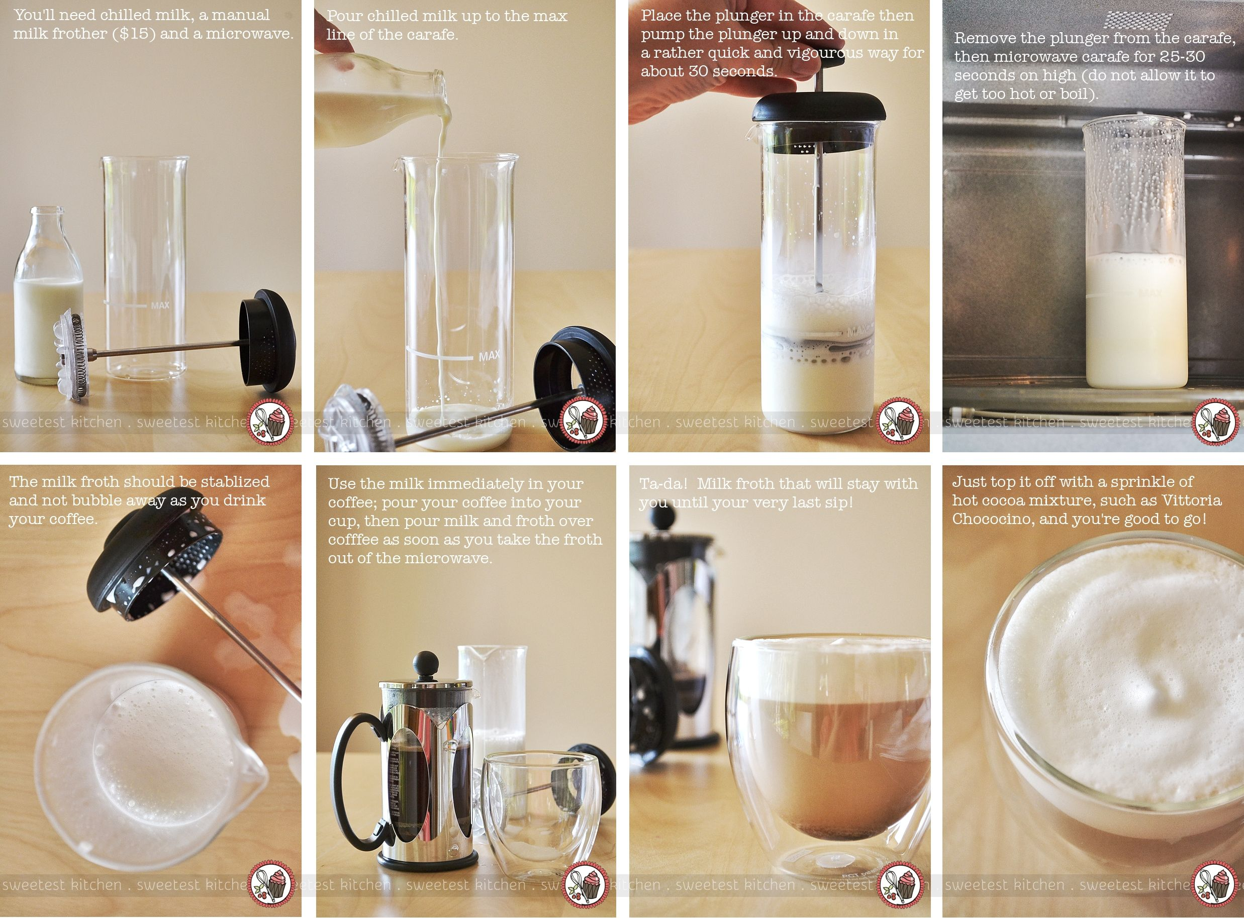 How To Froth Milk Without Fancy Machines Sweetest Kitchen Frothing Milk Frothed Milk Recipes Milk Frother Diy