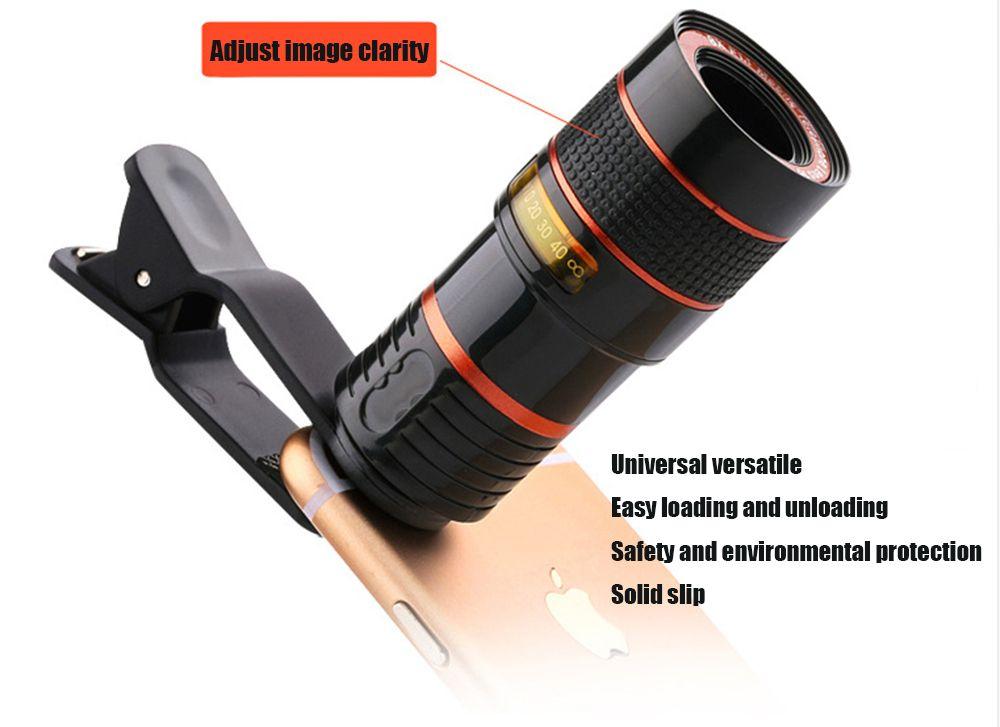 Universal telephoto clip lens on mobile phone optical zoom telescope