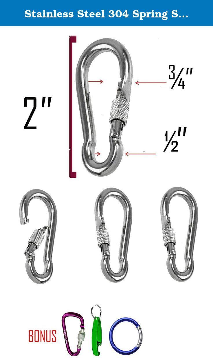 Stainless Steel 304 Spring Snap Hook Carabiner Screw Lock 2 Inch Key Ring Hook With Spring Loaded Gate Camping Hiking Stainless Steel 304 Carabiner Hook