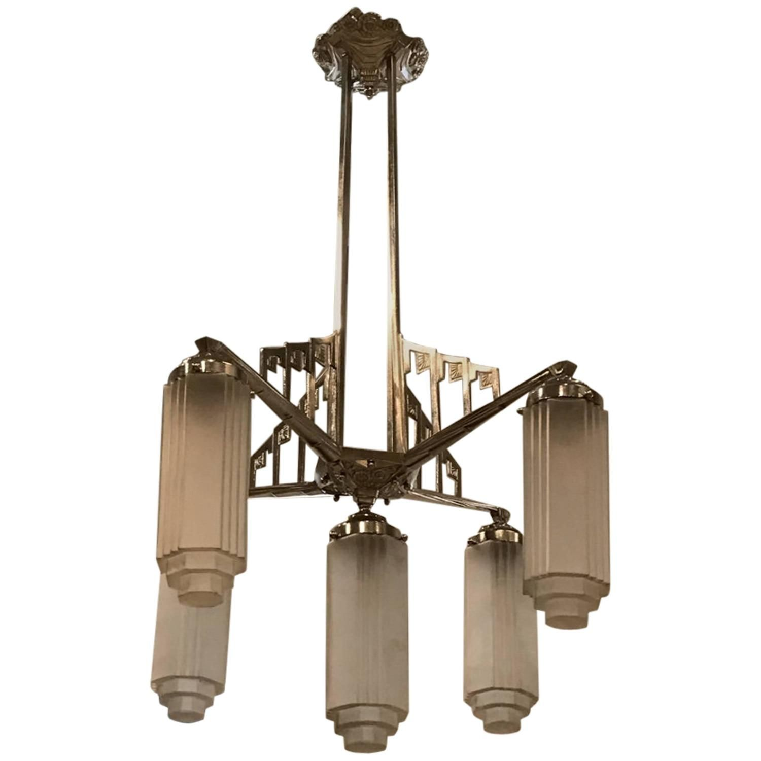 French art deco chandelier with skyscraper motif see more antique and modern chandeliers and pendants