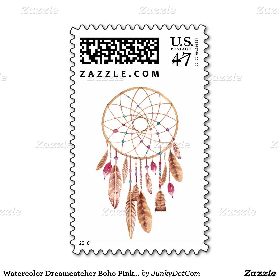 Watercolor Dreamcatcher Boho Pink Khaki Stamp @zazzle #junkydotcom 5x