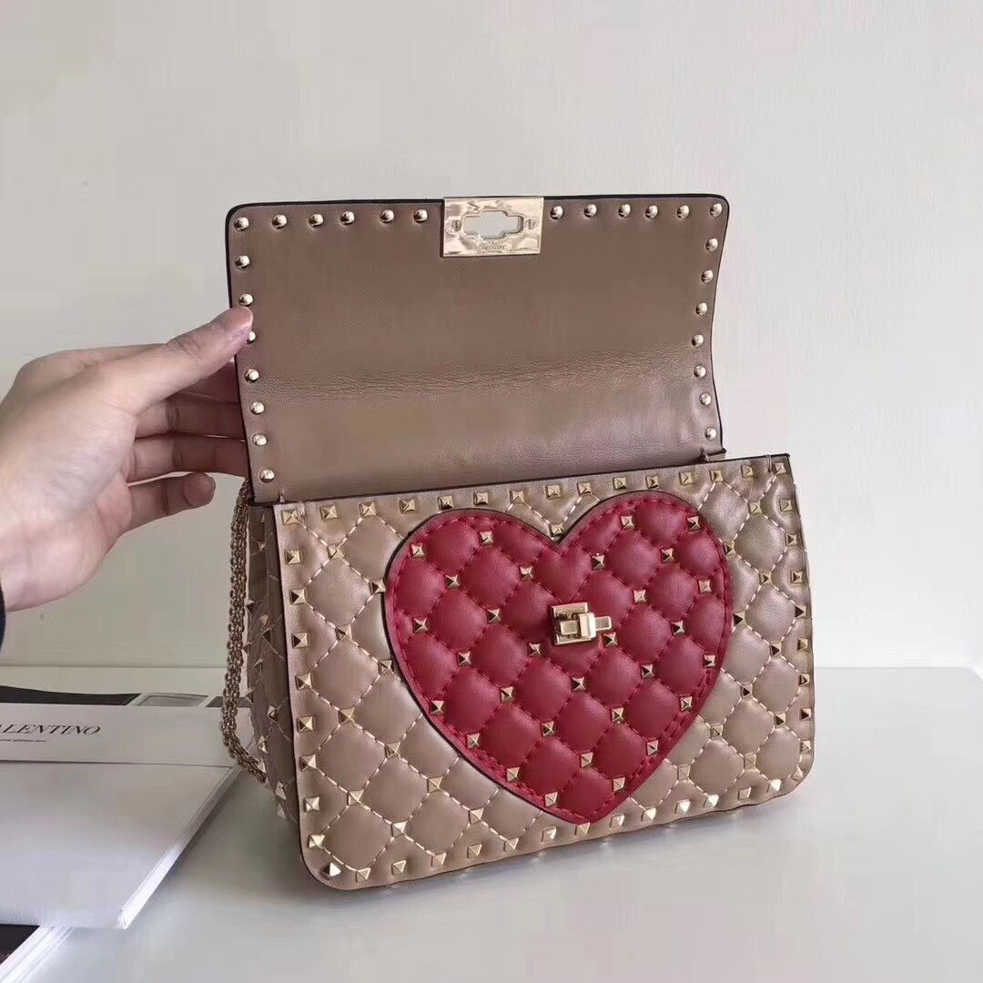 e236497433ab9 Valentino Rockstud Spike Meium Chain Bag With Heart Beige/Red 2018 ...