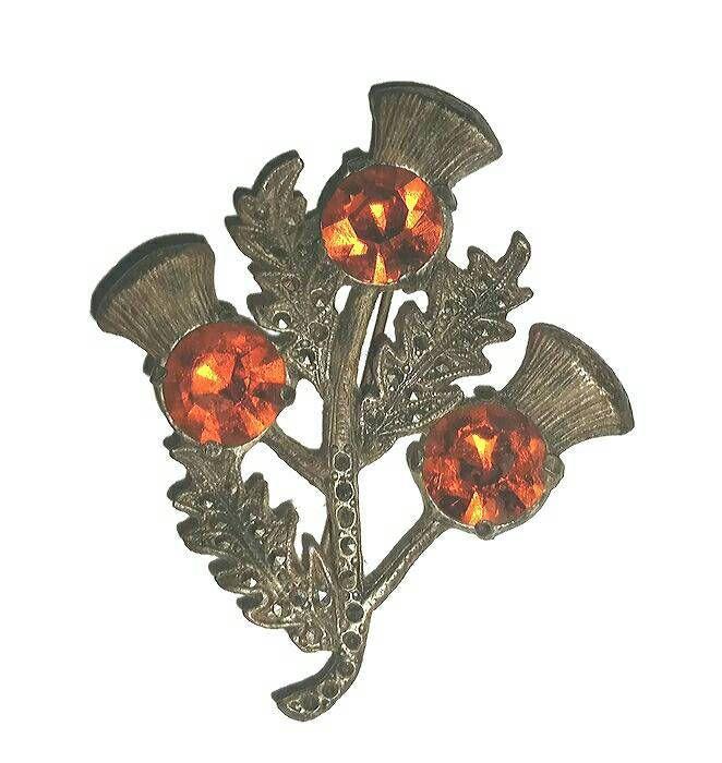 Art Deco Marcasite THISTLE BROOCH SCOTTISH Kilt Pin Burnt Orange Rhinestone Thistle Vintage Jewelry Scottish Wedding Highland Dancing Gift #vintagerhinestone