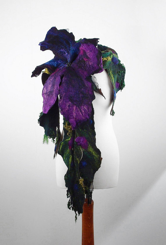 Felted Scarf artistic scarves JUNGLE with big Brooch Long ...