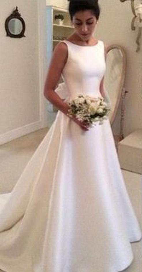 2018 Satin Backless Wedding Dresseswedding Dresscustom Made