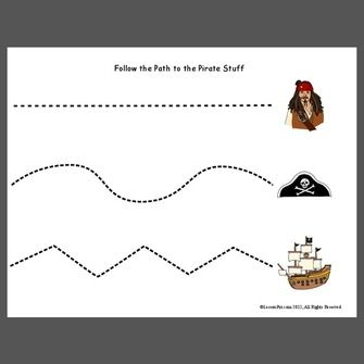 here is a simple tracing or cutting page with pirate items some ideas include - Simple Pictures To Trace
