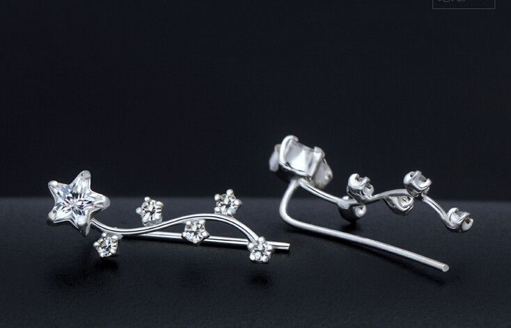 925 sterling silver fully-jewelled six stars earrings,fashion earrings,a perfect gift
