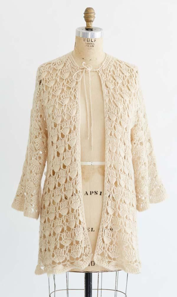 Vintage Crochet Lacy Shell Sweater Crochet Pattern | Leída Elsa ...