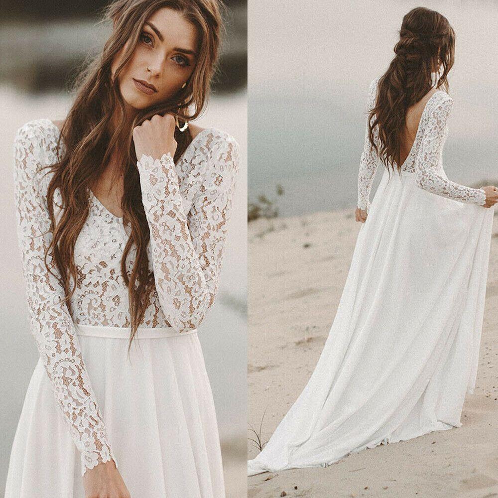 Details about Boho Beach Wedding Dresses Long Sleeve A