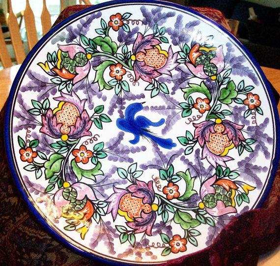 Talavera Mexican Pottery Plate 10 Inch Decorative Dinner Plate Blue Bird in\u2026  sc 1 st  Pinterest & Talavera Pottery Puebla Dish Blue Bird Design Signed Puebla Mexico ...