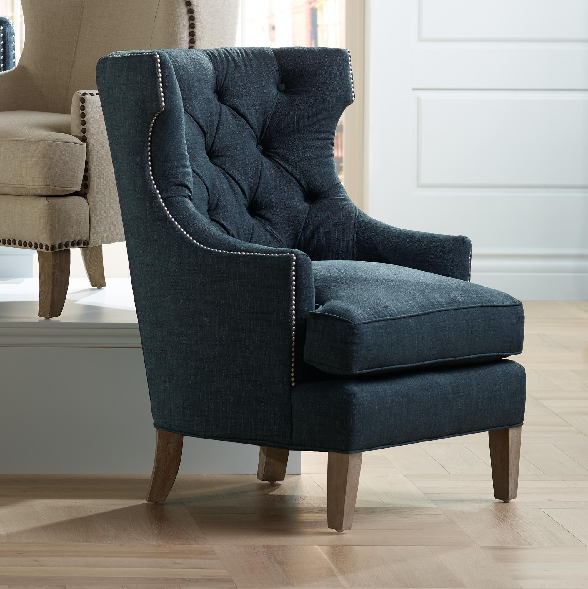 Reese Studio Indigo High Back Accent Chair With Images High